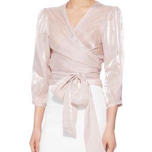 Intermix Tatjana Sheen Shiny Long Sleeve Wrap Top